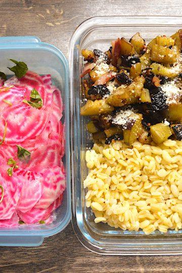 lunch bosx, aubergines grillées, blé, betterave,