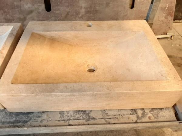 Vasque rectangulaire 44x60cm Travertin Beige
