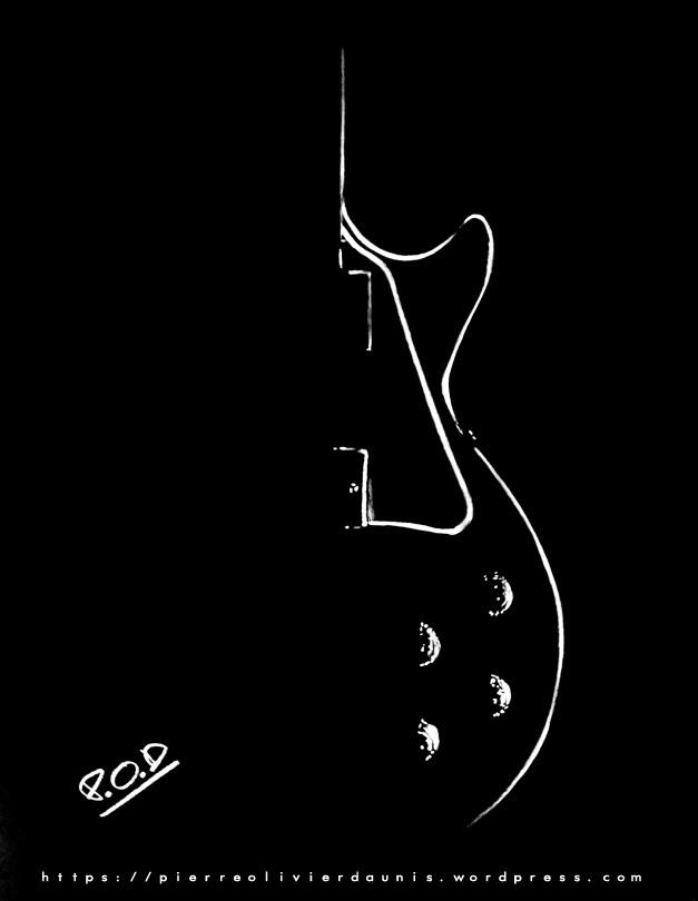 tableau moderne de guitare au pastel . guitar painting