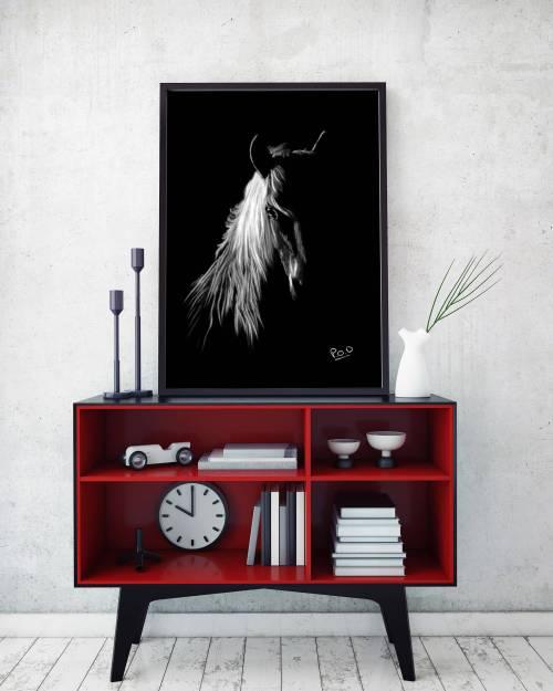 tableau moderne cheval 3 au pastel sec – horse painting number 3