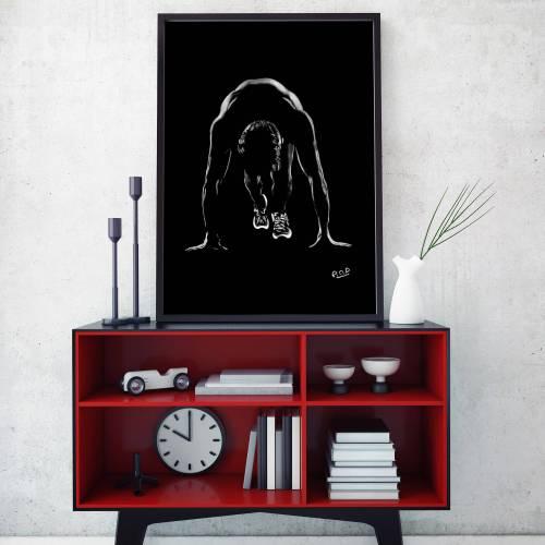 Athlète masculin – tableau moderne d'homme sport 1 au pastel sec