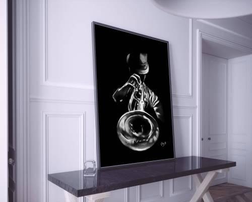 Trompettiste 1- peinture au pastel sec . Trumpeter painting music