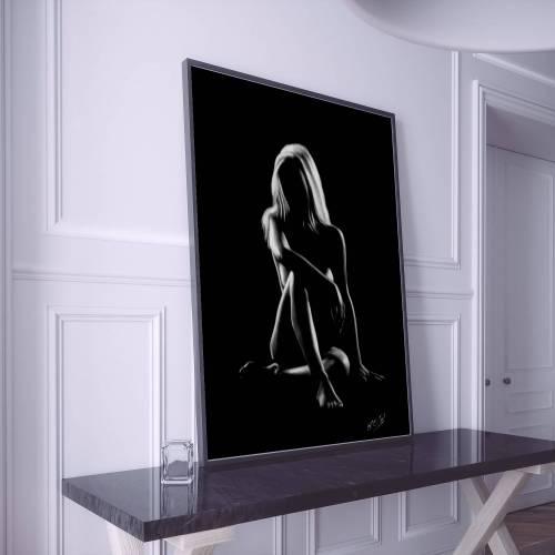 Silhouette de femme nue assise 14 au pastel sec nude woman painting