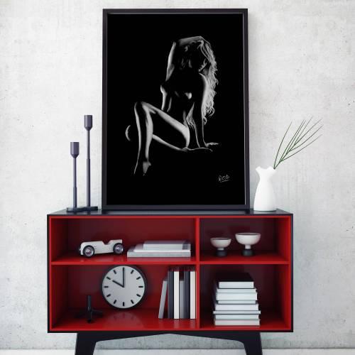 tableau moderne de femme nue 66 au pastel sec nude woman painting