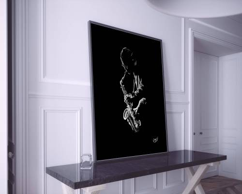 Le saxophoniste 2 : Tableau de musique 13 saxophoniste au pastel sec. Saxophonist jazz modern painting
