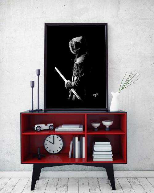 Painting  kenshi kendoka – samourai kendo – decoration design – pastel – modern athletic painting – fine art – peinture sportif 3