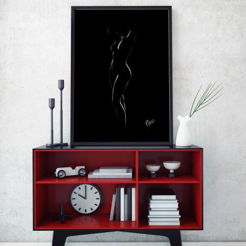 tableau moderne de femme nue 80 au pastel sec nude woman painting