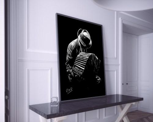 Le bandonéoniste : Tableau de musique accordéoniste 1 au pastel sec. Bandoneon musician modern painting