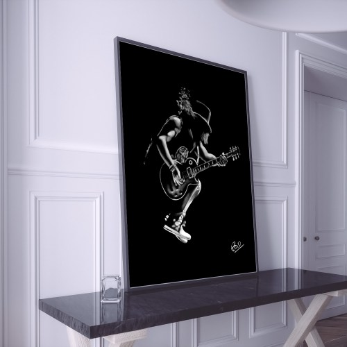Electric guitar painting guitarist.Tableau de guitariste Rock N Roll