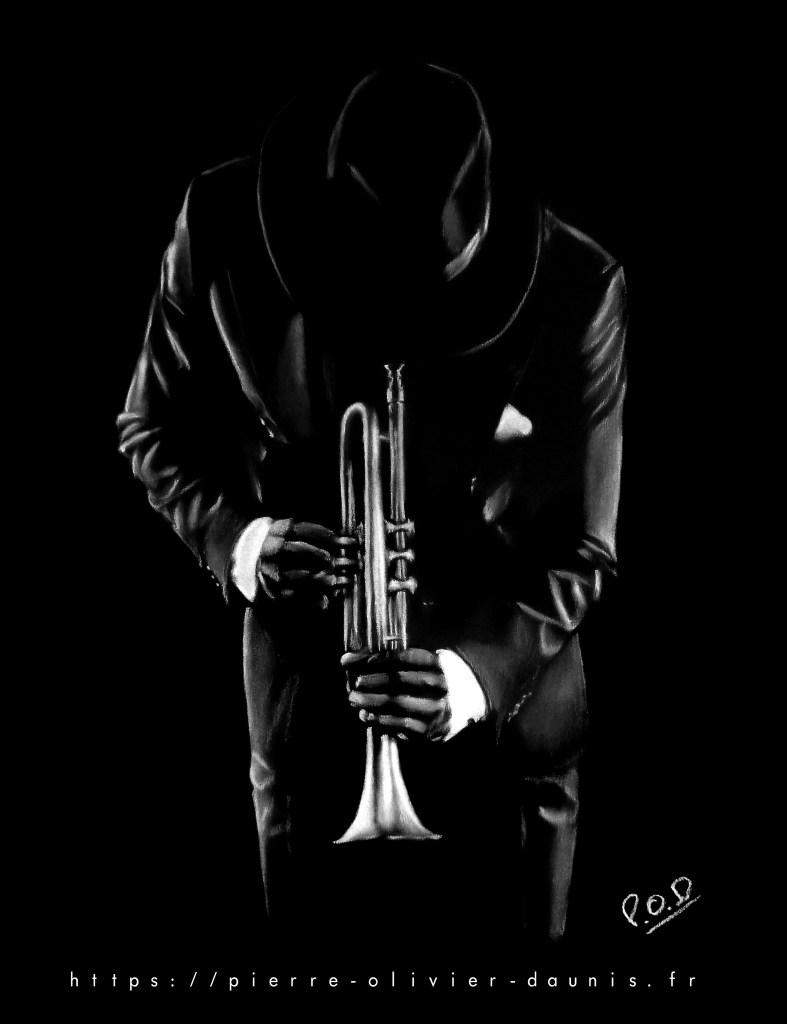 Tableau de musique trompettiste 2 . american jazz trumpet player