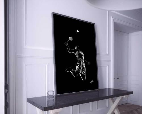 Athlète masculin – tableau moderne d'homme au pastel sec – badminton painting