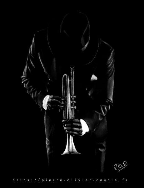 peinture moderne american jazz trumpet player