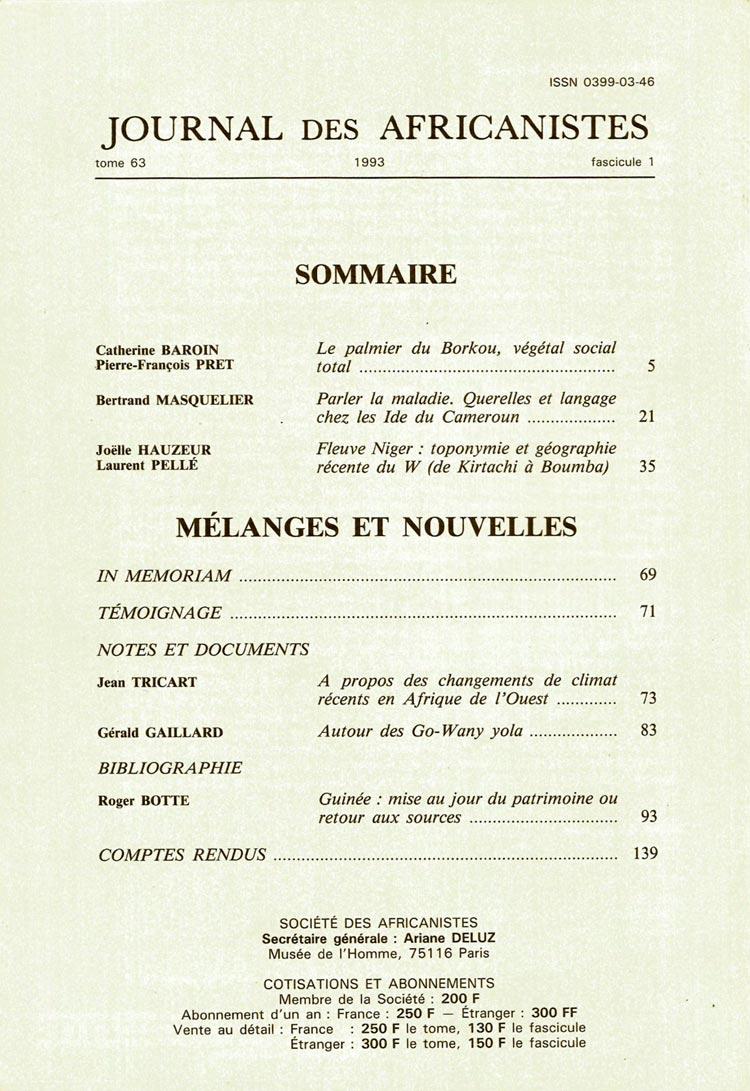Journal des Africanistes - Le palmier du Borkou, végétal social total - Sommaire