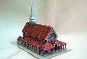 Papercraft imprimible y recortable de la Iglesia de San Juan y San Felipe de Lentilles en Francia. Manualidades a Raudales.