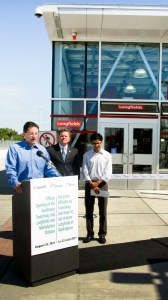 Pierre Poilievre, MP for Nepean-Carleton, is joined by his colleagues, MPP Yazir Naqvi, and Councillor Stephen Desroches at the official opening of the Southwest Transitway Station in Barrhaven on August 23, 2011.