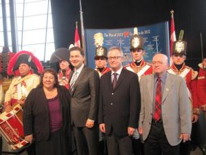 From left to right: Joanne Dallaire LL.D, Pierre Poilievre MP, Mark O'Neil (President and CEO of CMCC), Dr. Peter MacLeod PhD (Pre-Confdederation Historian at Canadian War Museum)
