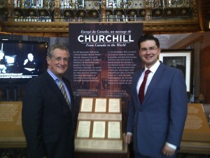 Mr. Ron Cohen, founding President of the Sir Winston Churchill Society of Ottawa and MP Pierre Poilievre, at the Churchill Exhibit in the Library of Parliament
