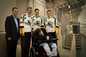 (L to R) Councillor Mark Taylor, Mayor Jim Watson, Ottawa Rotary Home client Eric Bourns, MP Pierre Poilievre, Councillor Steve Desroches
