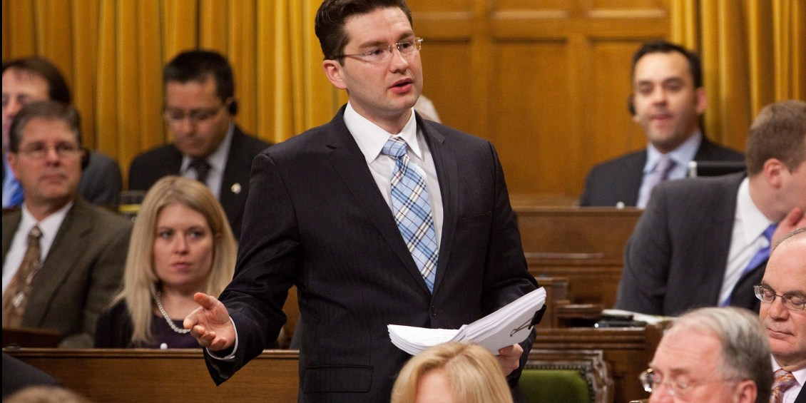 Pierre Poilievre, MP for Nepean-Carleton, speaks in the House of Commons (undated photo, stock image).