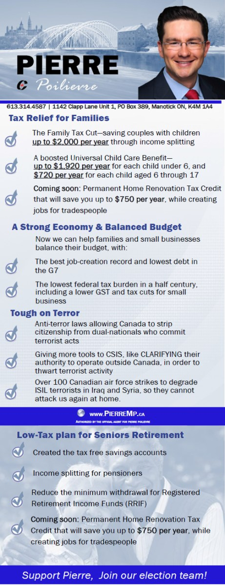 Tax relief for families, Strong economy, Balanced Budget, Tough on terror, low tax plan for seniors retirement