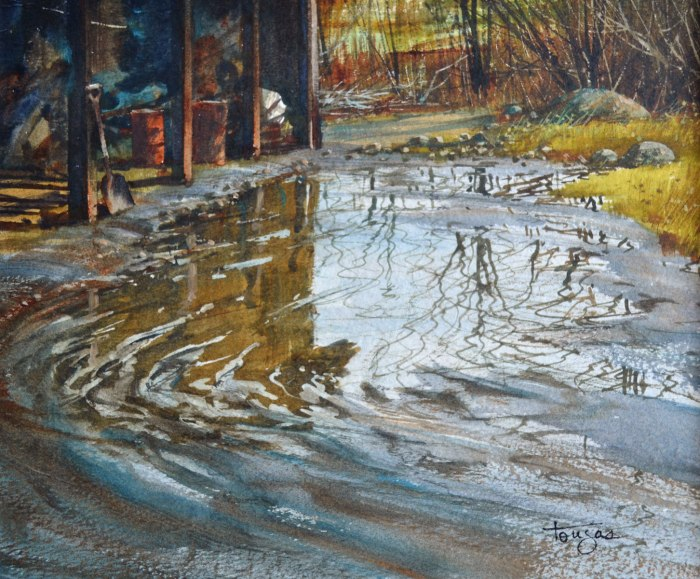 Reflets d'automne (Aquarelle 8 x10 po / 20 x 25 cm)