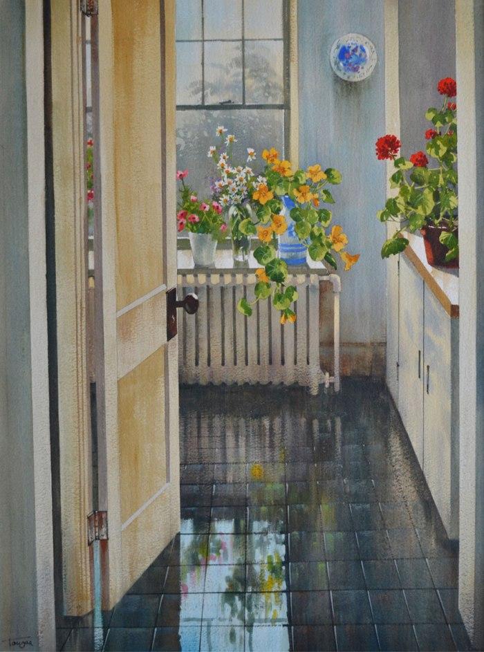 Chez Madame Hélène ( Aquarelles 29 x 21 po / 74 x 53 cm)