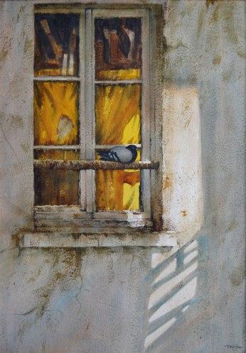 Refuge matinal, Paris (Aquarelle 24 x 18 cm / 61 x 46 cm)