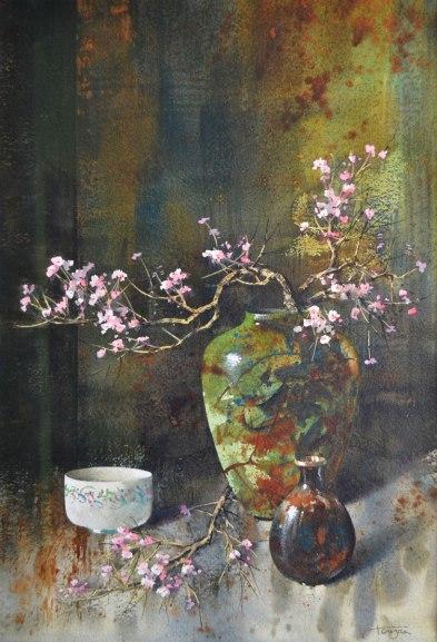 Raku et fleurs de cerisier (aquarelle 20 x 14 po / 51x 30 cm)