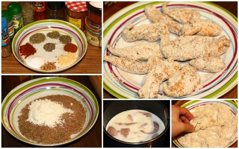 Etapes de la préparation des filets de poulet