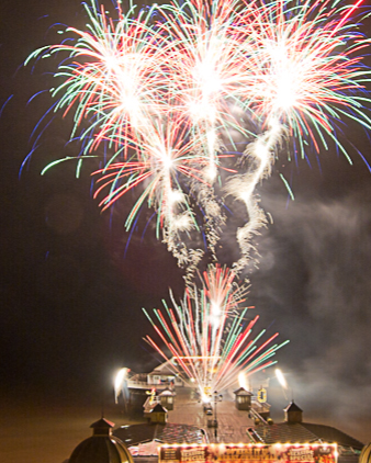 Firework display on cromer pier on New Years Day