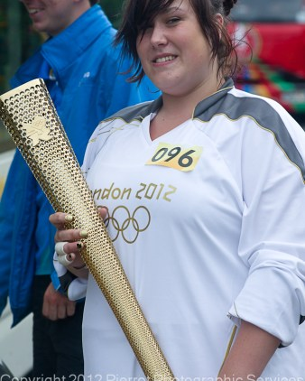 Jodie Andrews holding the Olympic Torch prior to the Olympic Torch relay in Cromer, North Norfolk