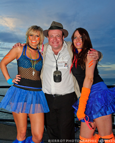 cromer carnival fancy dress Andreas Yiasimi with two cheeky girls