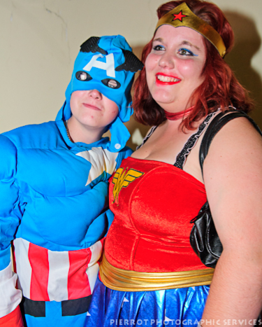 Cromer carnival fancy dress superwoman and friend