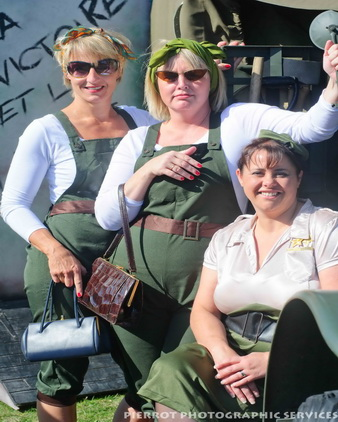 Three pretty land girls at the 1940s weekend in Sheringham