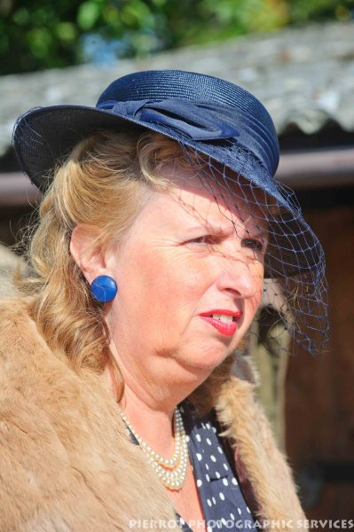 Woman in period hat at the 1940s weekend at Sheringham 2012