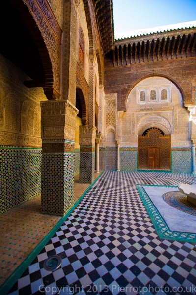 Mosaics in a madras in Fez, Morocco.