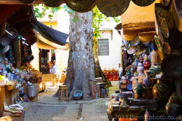 A courtyard in the medina in Fez, Morocco