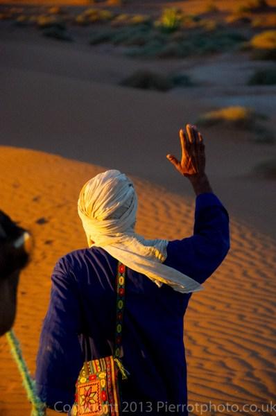 Camel trekking in the Sahara desert. Morocco