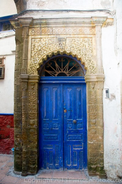 Ornate Moroccan door in the medina in Essaouira, Morocco