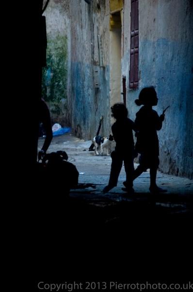 Children playing in the medina of Essaouira, Morocco