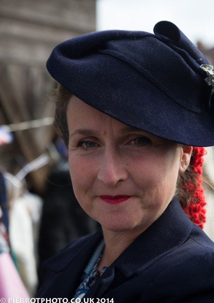 1940s weekend in Sheringham North Norfolk 2014 - lady in a blue hat