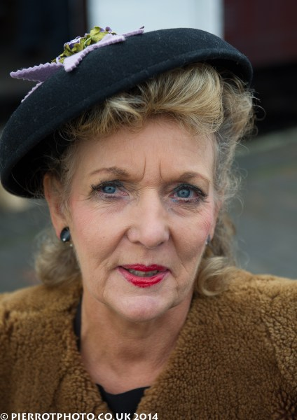 1940s weekend in Sheringham North Norfolk 2014 - attractive mature woman with hat