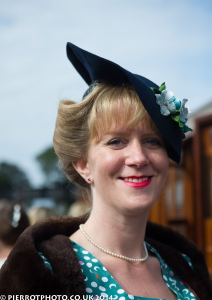 1940s weekend in Sheringham North Norfolk 2014 - attractive women with hat