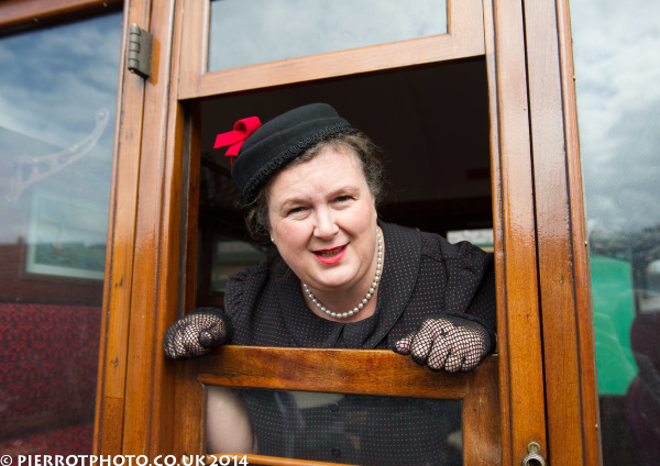 1940s weekend in Sheringham North Norfolk 2014 - attractive women leaning out of carriage window