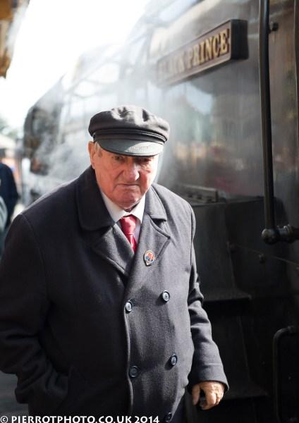 1940s weekend in Sheringham North Norfolk 2014 - man next to steam train
