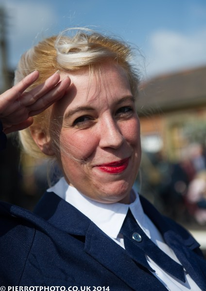 1940s weekend in Sheringham North Norfolk 2014 - attractive woman saluting