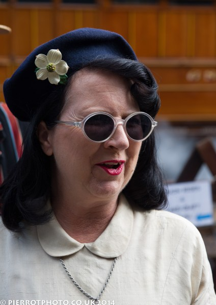 1940s weekend in Sheringham North Norfolk 2014 - lady in blue hat