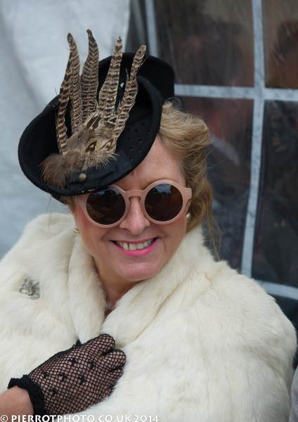 1940s weekend in Sheringham North Norfolk 2014 - woman in fur and feathers on hat