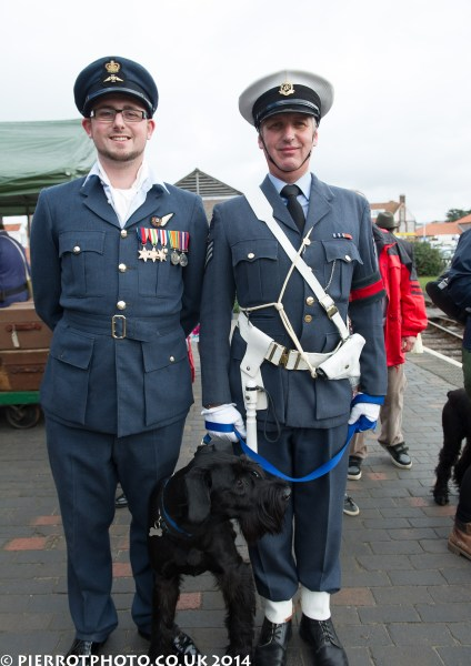1940s weekend in Sheringham North Norfolk 2014 - two RAF soldiers with dog