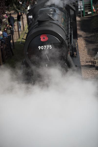 2017 1940s weekend Sheringham. Steam train in steam